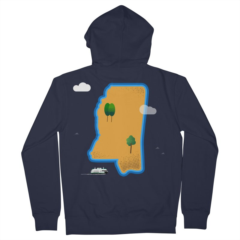 Mississippi Island Men's French Terry Zip-Up Hoody by Illustrations by Phil