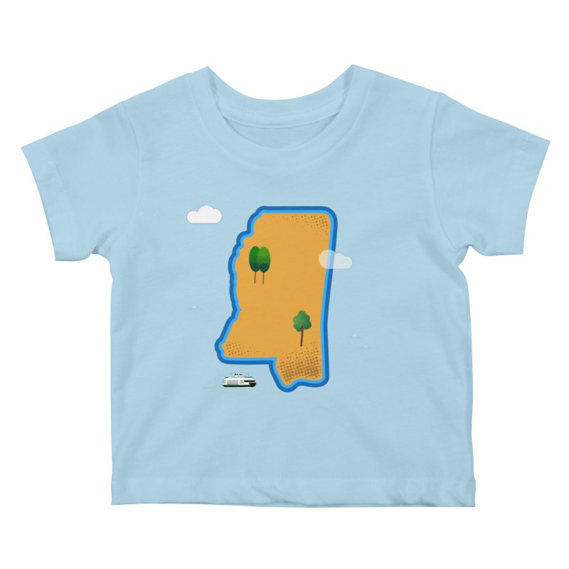 Mississippi Island Kids Baby T-Shirt by Illustrations by Phil