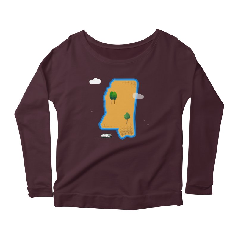 Mississippi Island Women's Scoop Neck Longsleeve T-Shirt by Illustrations by Phil