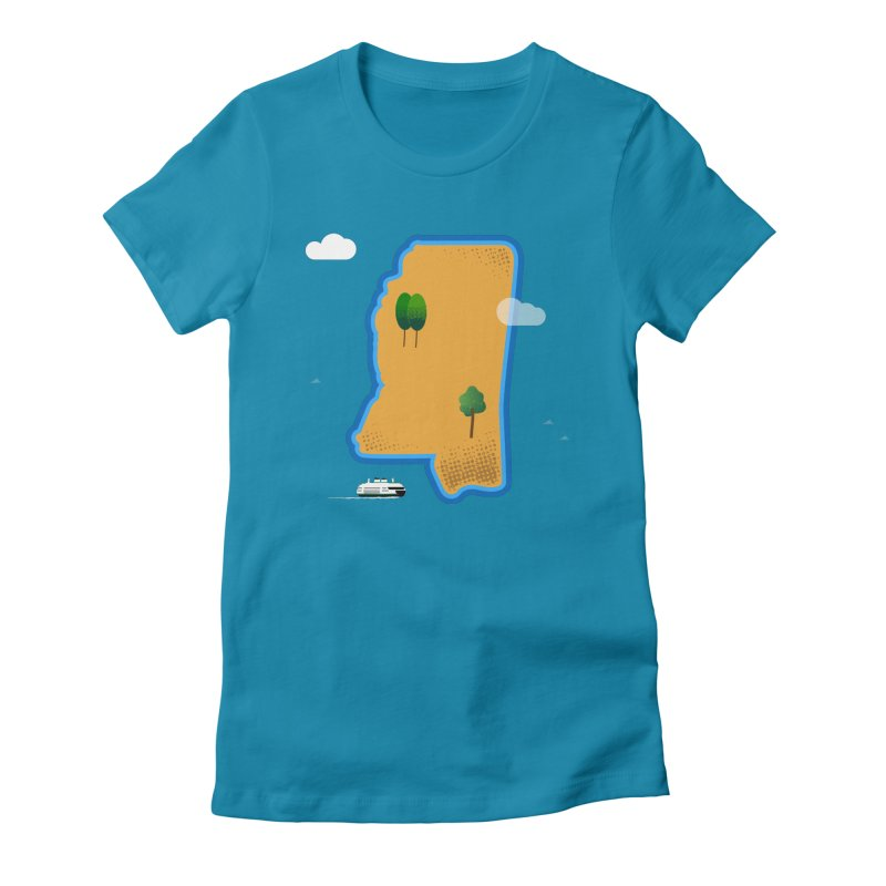 Mississippi Island Women's Fitted T-Shirt by Illustrations by Phil