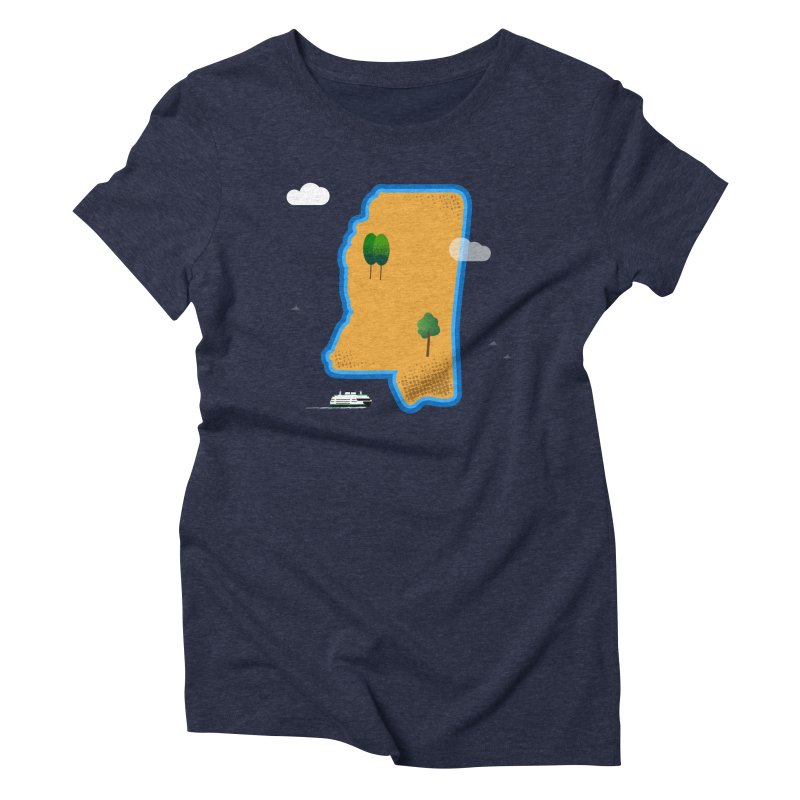 Mississippi Island Women's Triblend T-Shirt by Illustrations by Phil