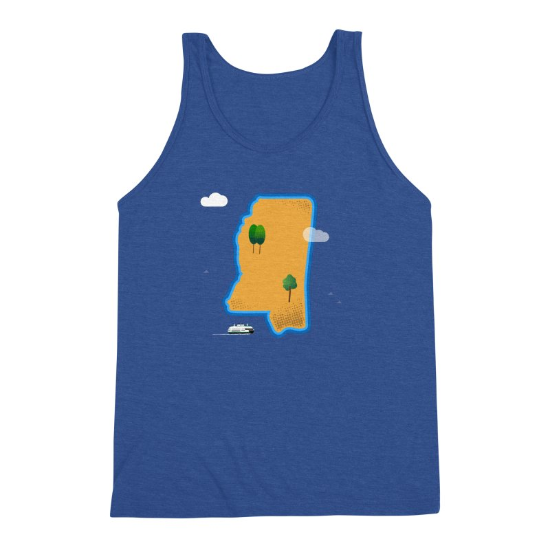 Mississippi Island Men's Triblend Tank by Illustrations by Phil