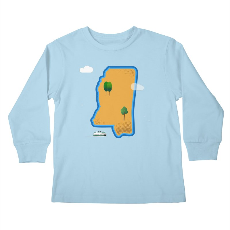 Mississippi Island Kids Longsleeve T-Shirt by Illustrations by Phil