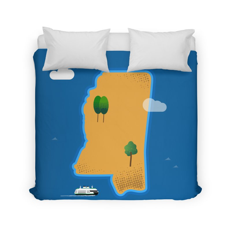 Mississippi Island Home Duvet by Illustrations by Phil
