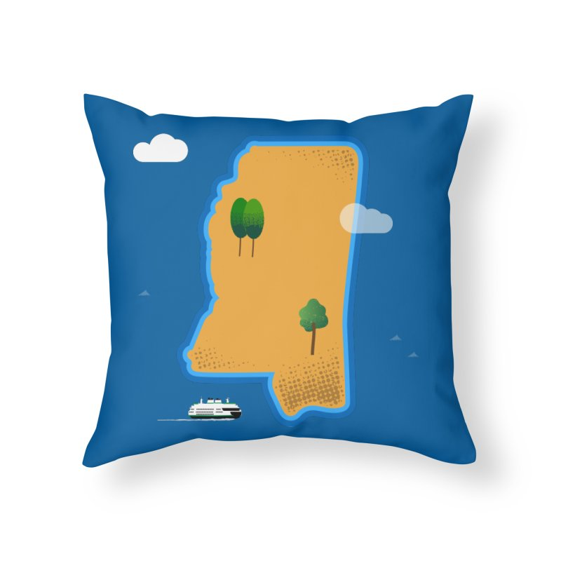 Mississippi Island Home Throw Pillow by Illustrations by Phil