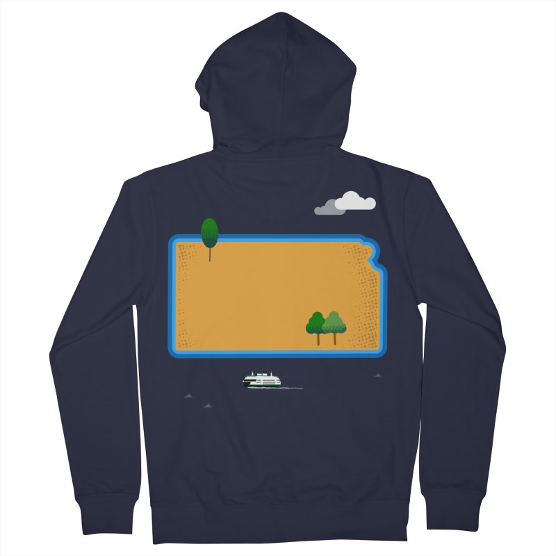 Kansas Island Men's French Terry Zip-Up Hoody by Illustrations by Phil
