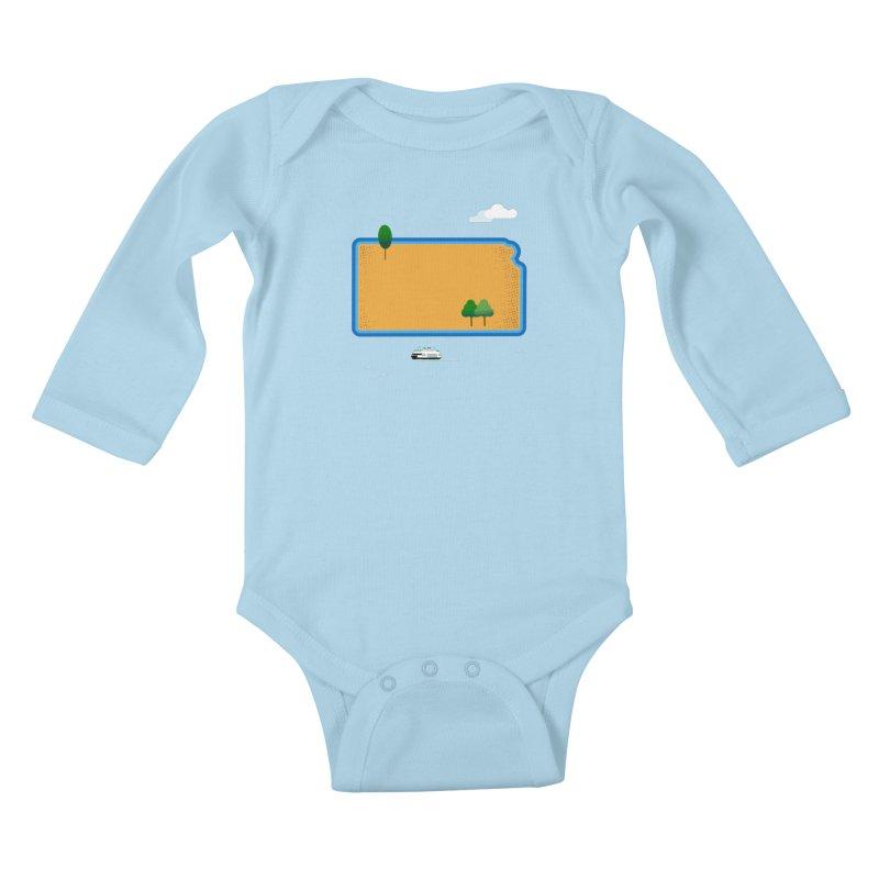 Kansas Island Kids Baby Longsleeve Bodysuit by Illustrations by Phil