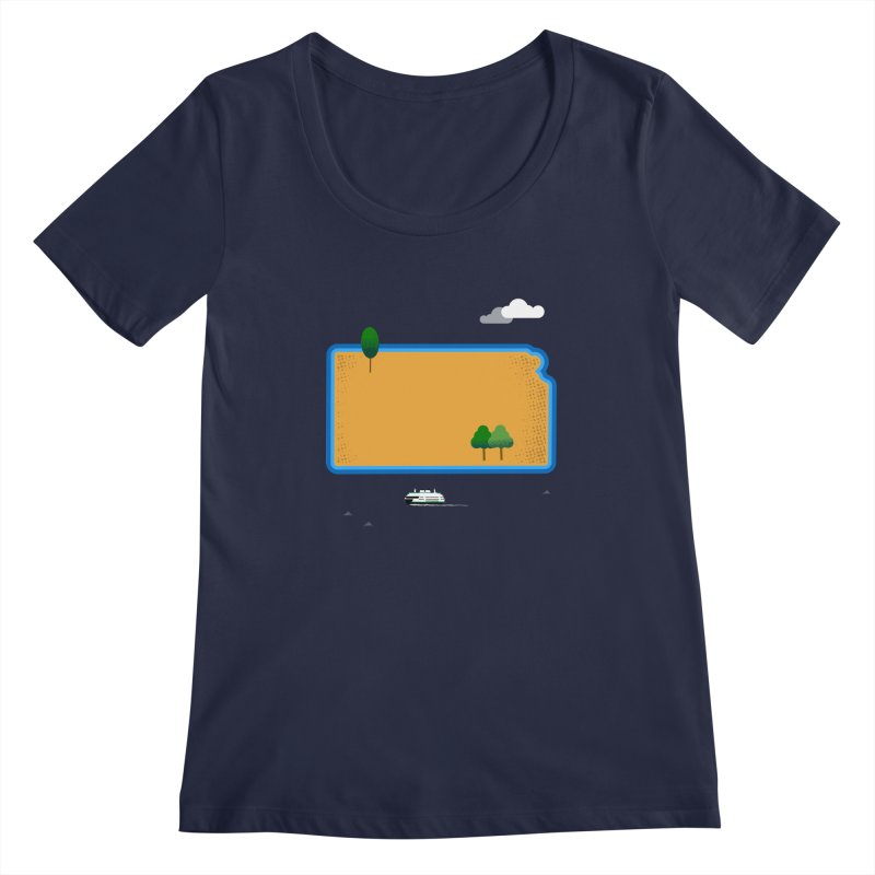 Kansas Island Women's Regular Scoop Neck by Illustrations by Phil