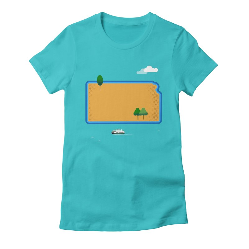 Kansas Island Women's Fitted T-Shirt by Illustrations by Phil
