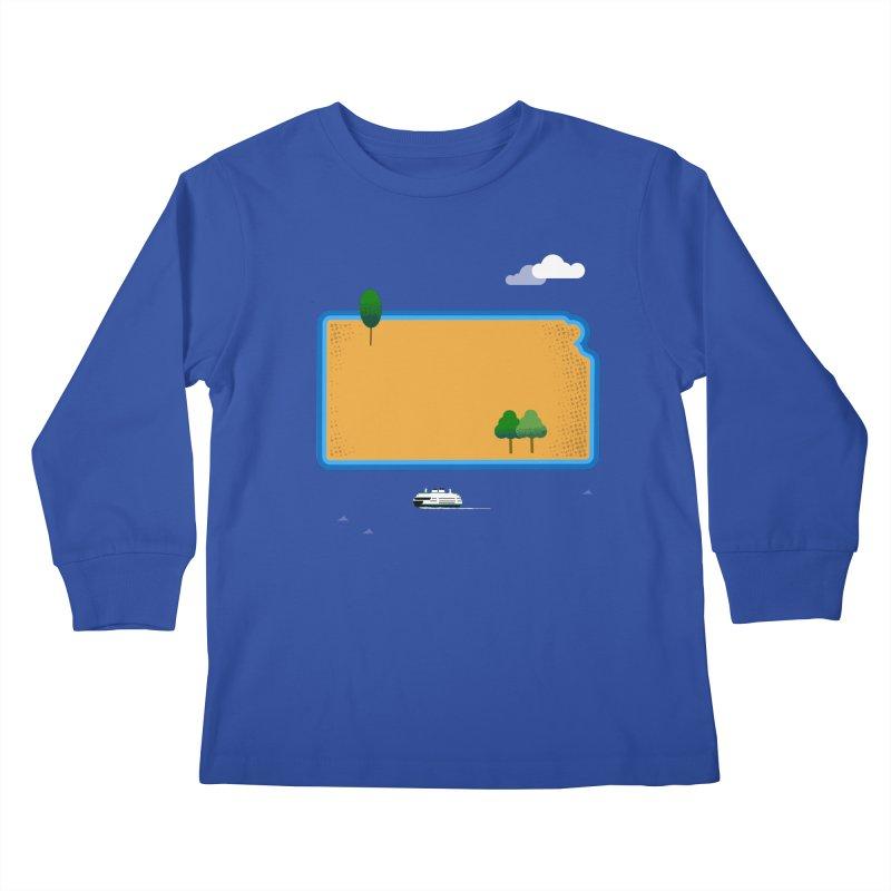Kansas Island Kids Longsleeve T-Shirt by Illustrations by Phil