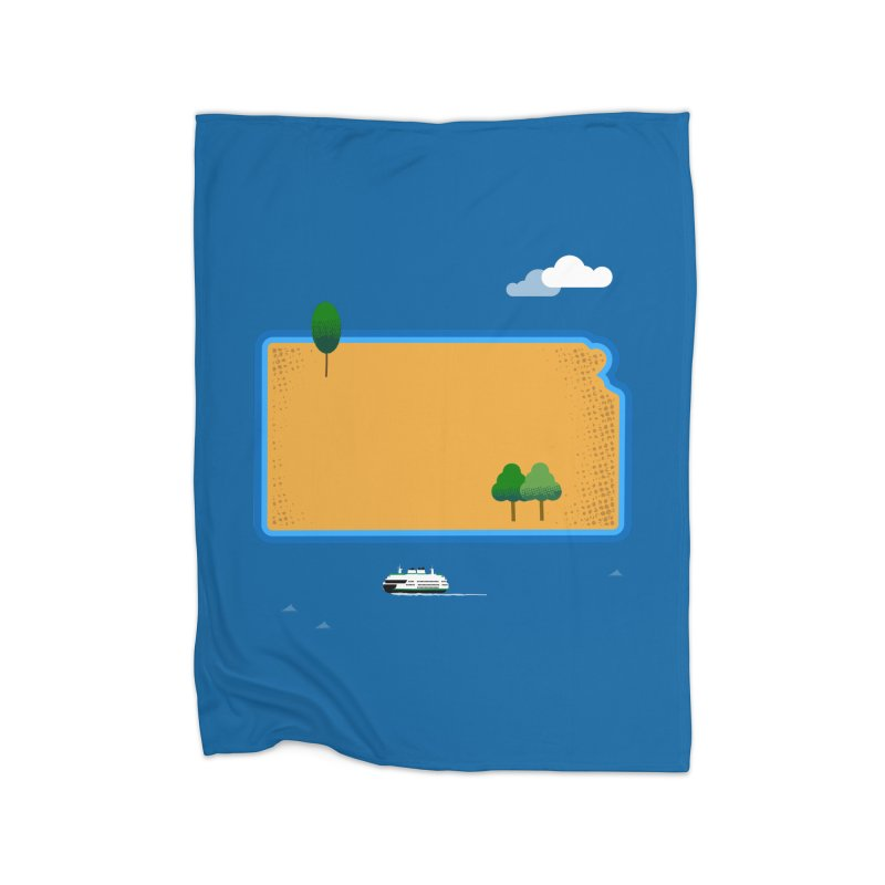 Kansas Island Home Blanket by Illustrations by Phil