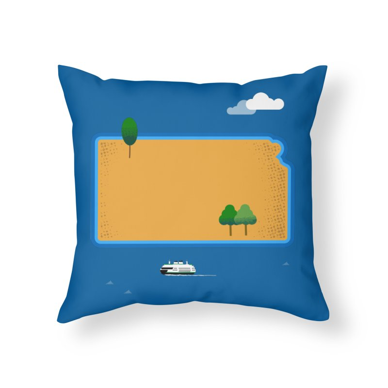 Kansas Island Home Throw Pillow by Illustrations by Phil