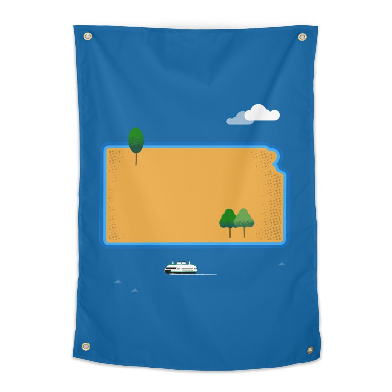 Kansas Island Home Tapestry by Illustrations by Phil