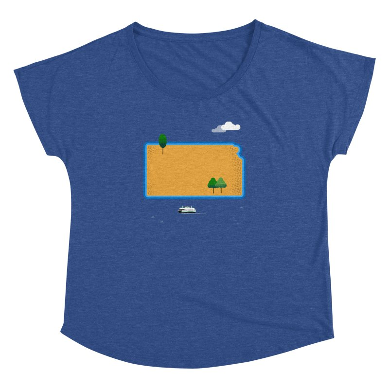 Kansas Island Women's Dolman Scoop Neck by Illustrations by Phil