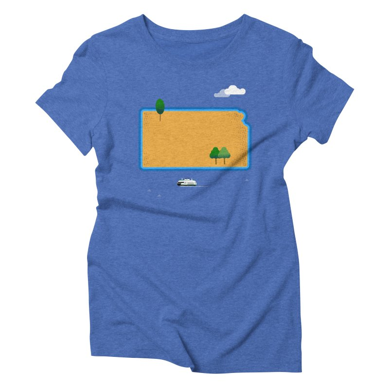 Kansas Island Women's Triblend T-Shirt by Illustrations by Phil