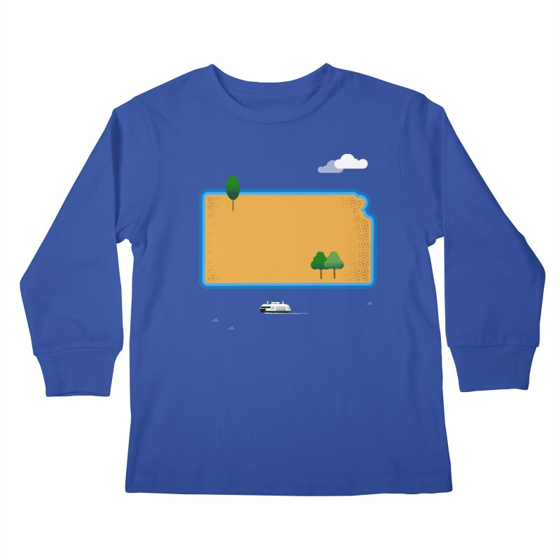 Kansas Island Kids Longsleeve T-Shirt by Illustrations by Phil