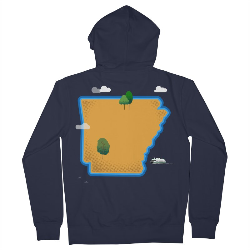 Arkansas Island Men's French Terry Zip-Up Hoody by Illustrations by Phil