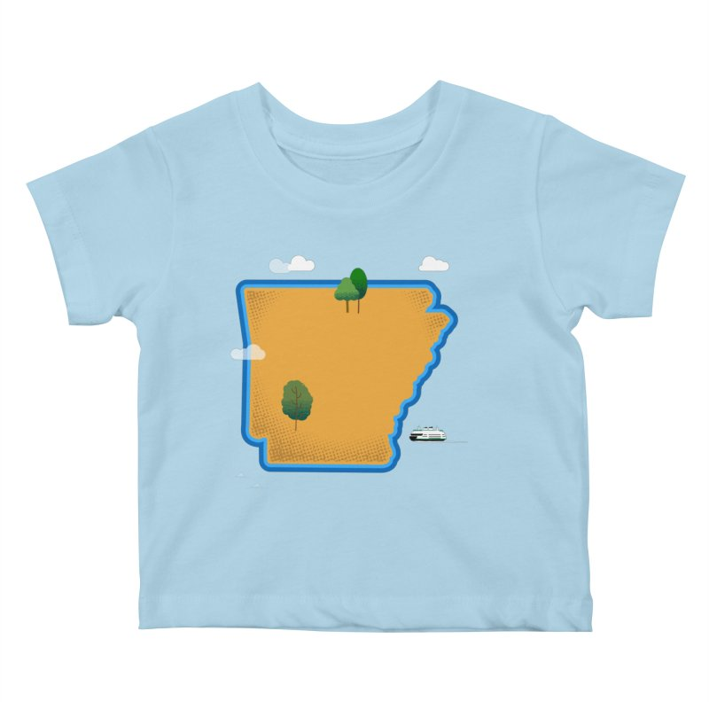 Arkansas Island Kids Baby T-Shirt by Illustrations by Phil