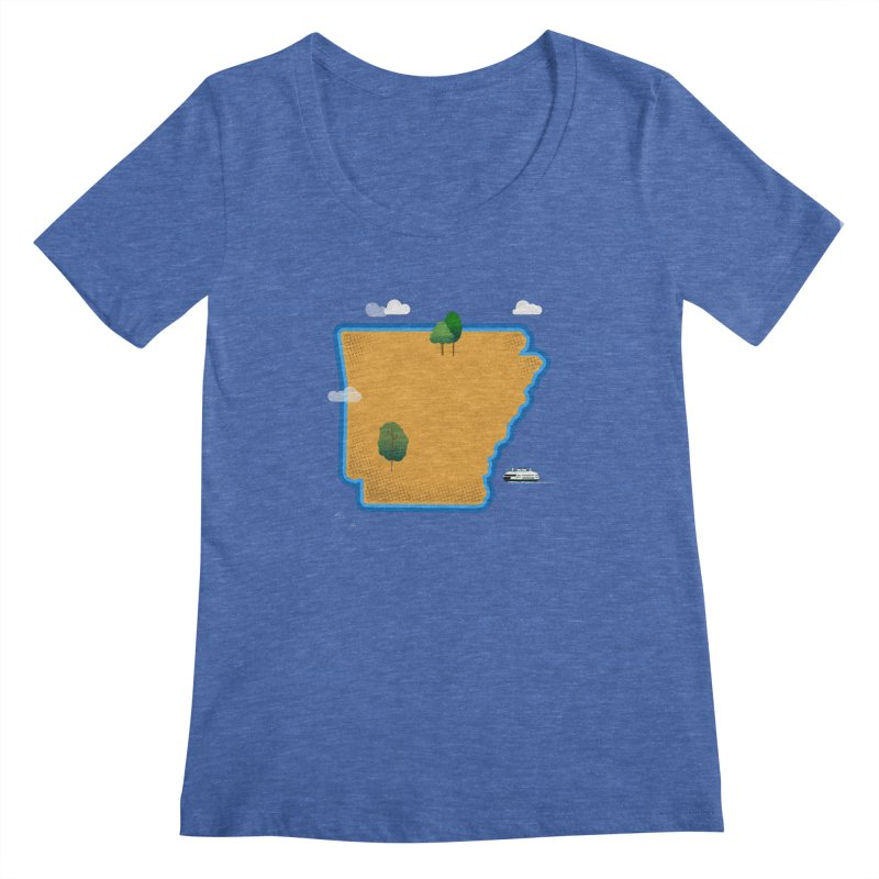 Arkansas Island Women's Regular Scoop Neck by Illustrations by Phil