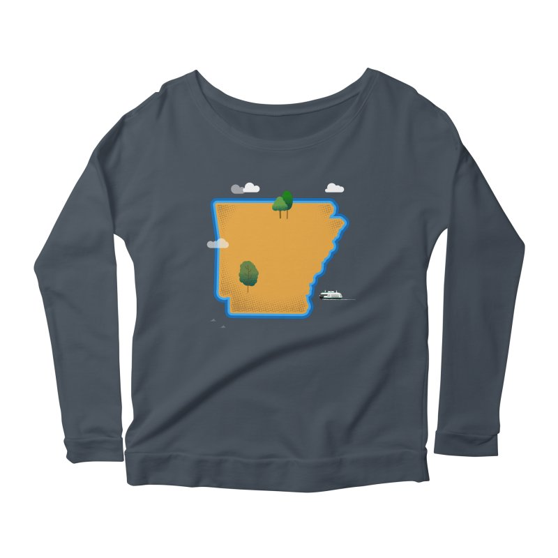 Arkansas Island Women's Scoop Neck Longsleeve T-Shirt by Illustrations by Phil