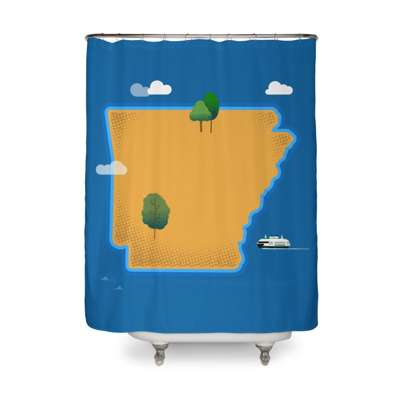 Arkansas Island Home Shower Curtain by Illustrations by Phil