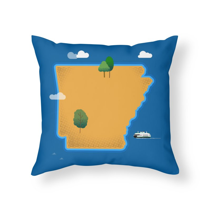 Arkansas Island Home Throw Pillow by Illustrations by Phil