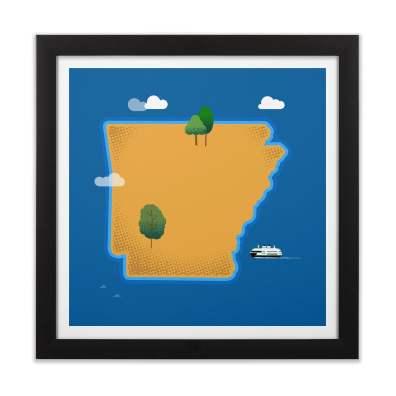 Arkansas Island Home Framed Fine Art Print by Illustrations by Phil