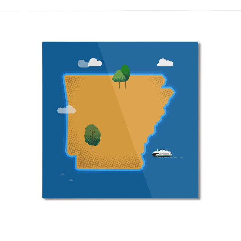 Arkansas Island Home Mounted Aluminum Print by Illustrations by Phil