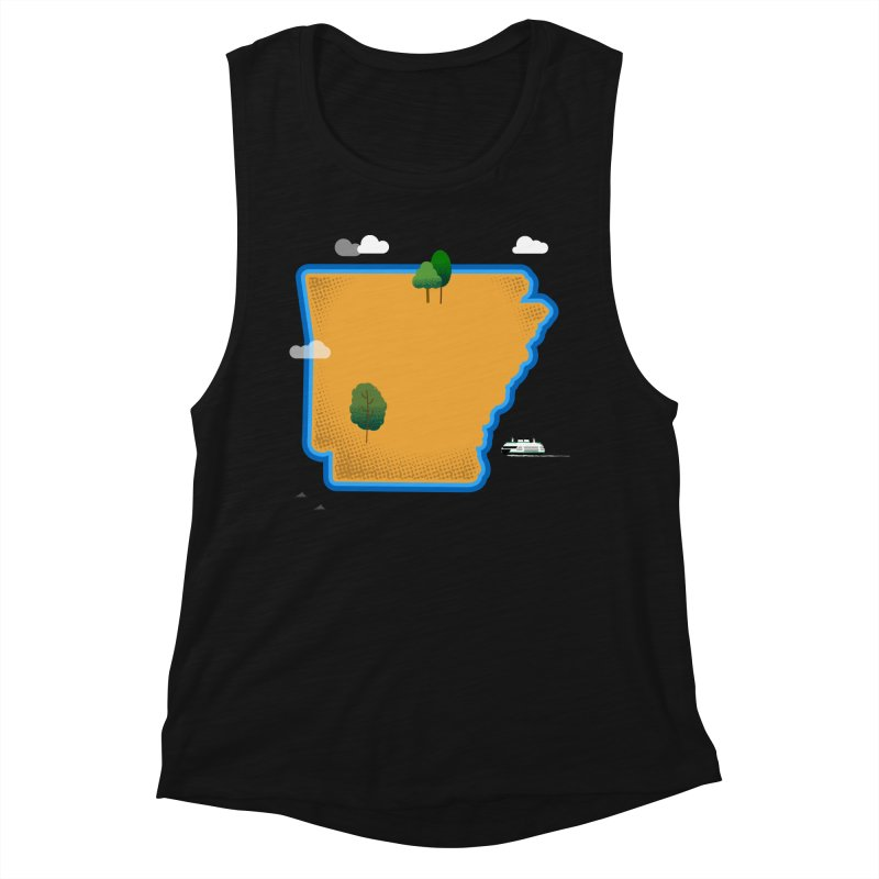 Arkansas Island Women's Muscle Tank by Illustrations by Phil