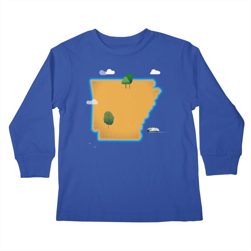Arkansas Island Kids Longsleeve T-Shirt by Illustrations by Phil