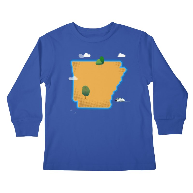 Arkansas Island Kids Longsleeve T-Shirt by Illustrations by Phil