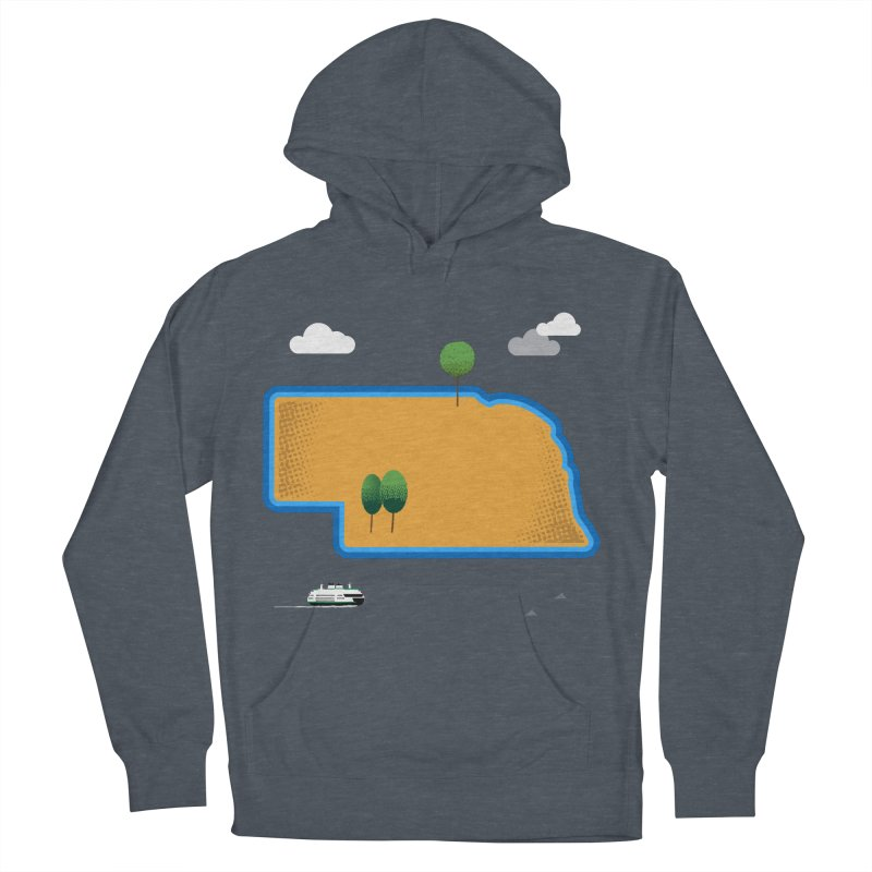 Nebraska Island Men's French Terry Pullover Hoody by Illustrations by Phil