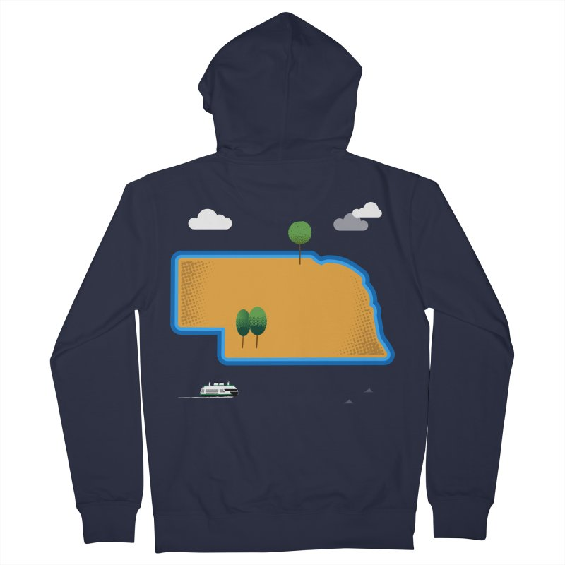 Nebraska Island Men's French Terry Zip-Up Hoody by Illustrations by Phil