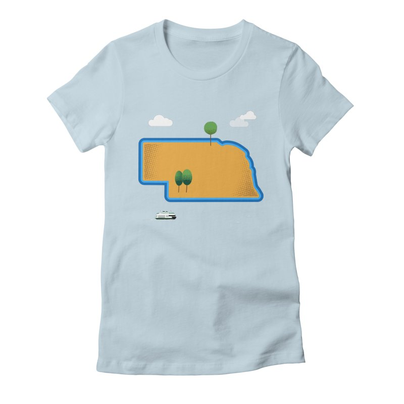 Nebraska Island Women's Fitted T-Shirt by Illustrations by Phil