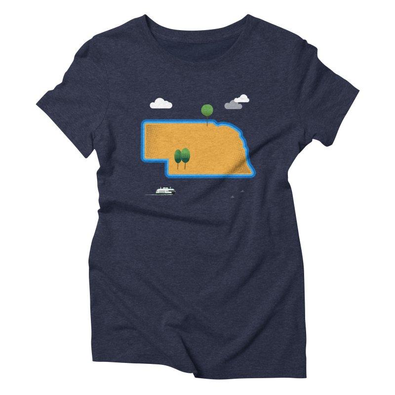 Nebraska Island Women's Triblend T-Shirt by Illustrations by Phil