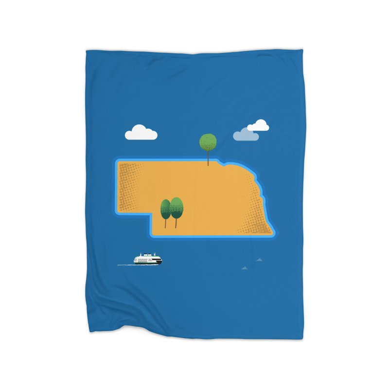 Nebraska Island Home Blanket by Illustrations by Phil