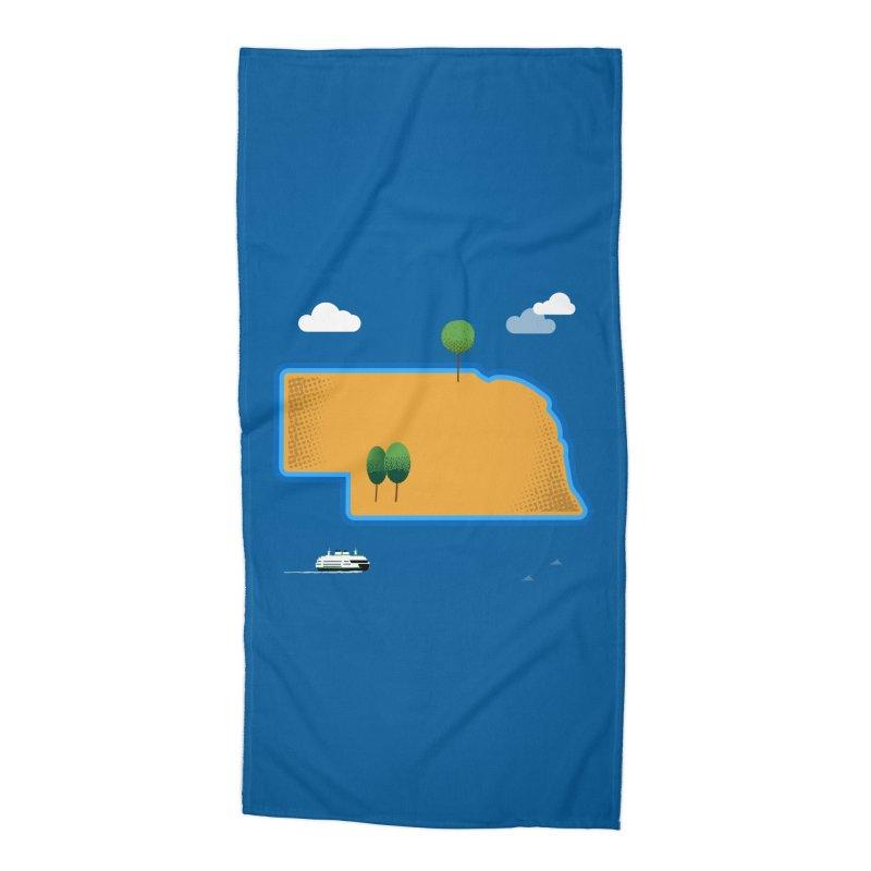 Nebraska Island Accessories Beach Towel by Illustrations by Phil