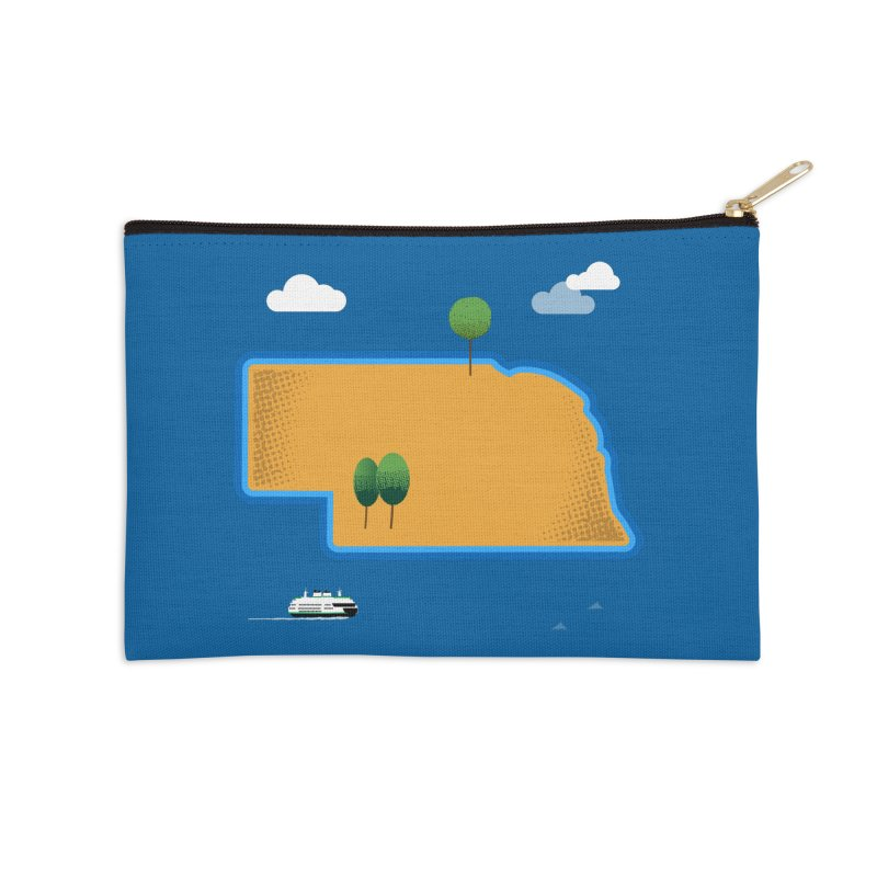 Nebraska Island Accessories Zip Pouch by Illustrations by Phil