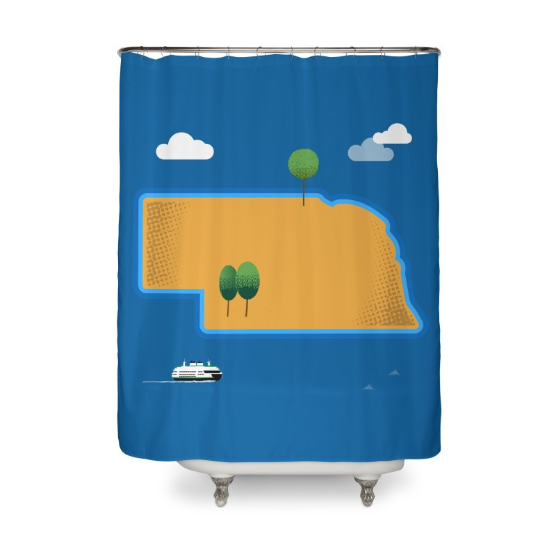 Nebraska Island Home Shower Curtain by Illustrations by Phil