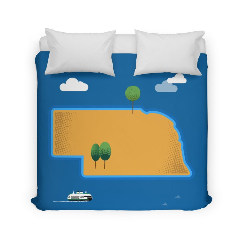 Nebraska Island Home Duvet by Illustrations by Phil