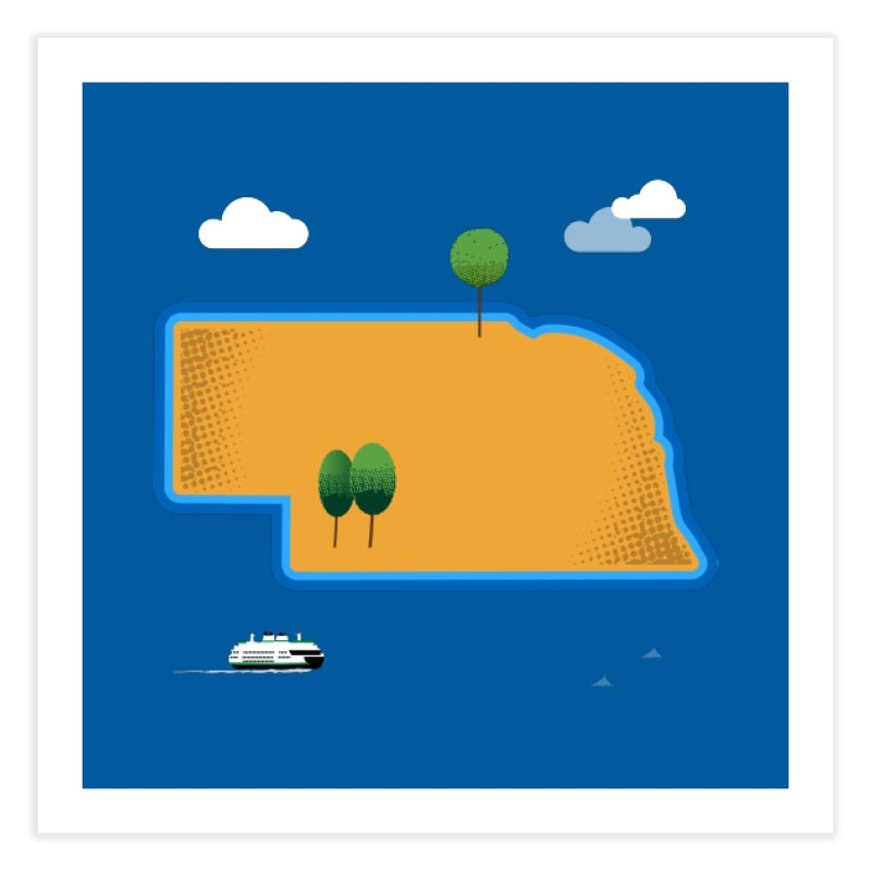Nebraska Island Home Fine Art Print by Illustrations by Phil