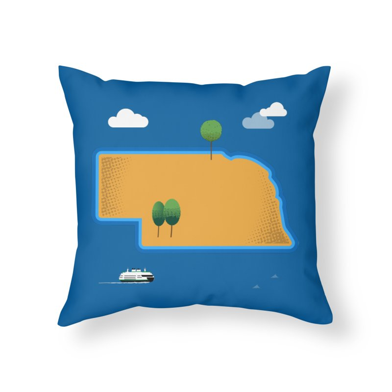 Nebraska Island Home Throw Pillow by Illustrations by Phil