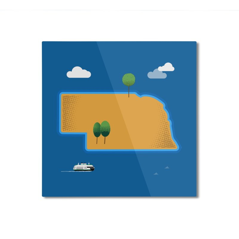 Nebraska Island Home Mounted Aluminum Print by Illustrations by Phil