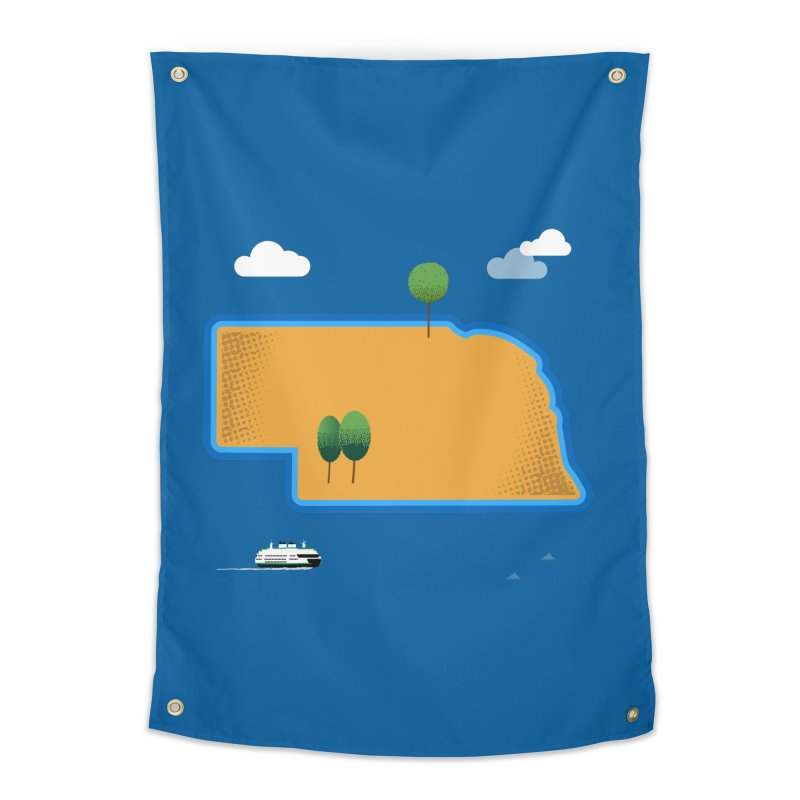 Nebraska Island Home Tapestry by Illustrations by Phil