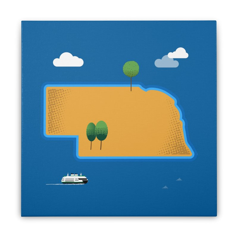 Nebraska Island Home Stretched Canvas by Illustrations by Phil
