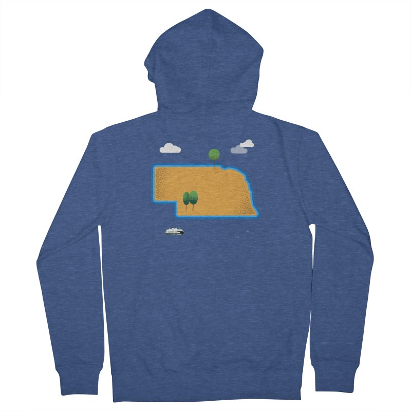 Nebraska Island Women's French Terry Zip-Up Hoody by Illustrations by Phil
