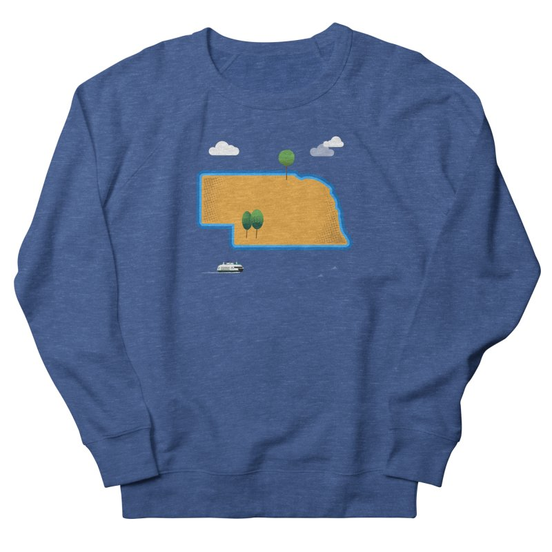 Nebraska Island Men's French Terry Sweatshirt by Illustrations by Phil