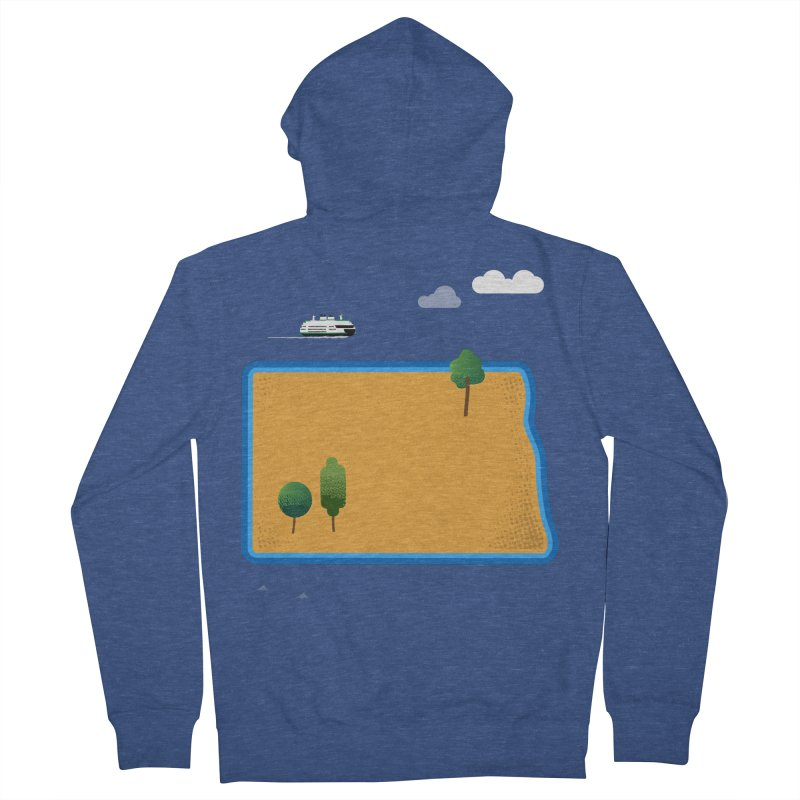 North Dakota Island Women's French Terry Zip-Up Hoody by Illustrations by Phil