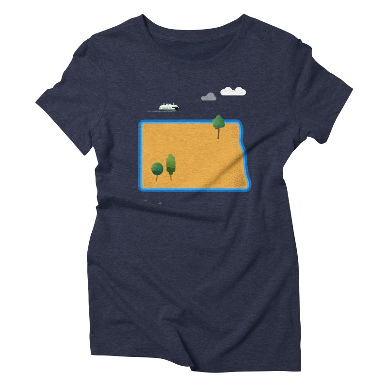 North Dakota Island Women's Triblend T-Shirt by Illustrations by Phil