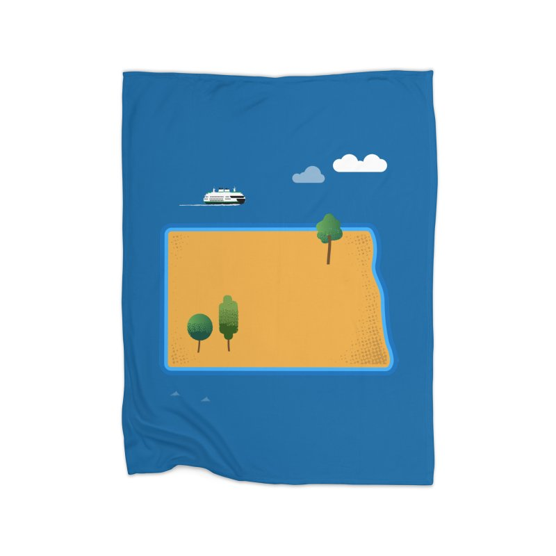 North Dakota Island Home Blanket by Illustrations by Phil